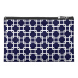 Navy Blue Square Link Pattern Travel Accessory Bag