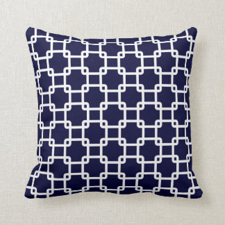 Navy Blue Square Link Throw Pillows