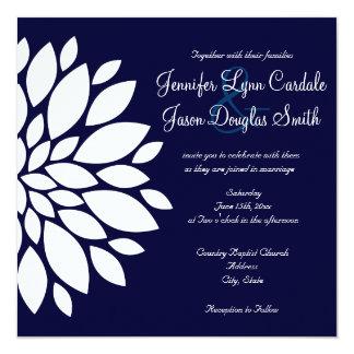Navy Blue Square Wedding Invitations White Flower