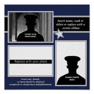 Navy Blue Star Photo Collage Display Poster
