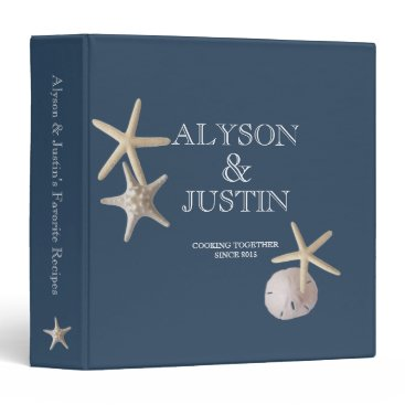 happygotimes Navy Blue Starfish and Sand Dollar Recipes Binder