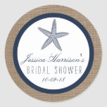 Navy Blue Starfish Beach Bridal Shower Stickers