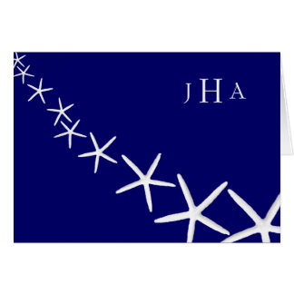 Navy Blue Starfish Monogrammed Thank You Notes Stationery Note Card