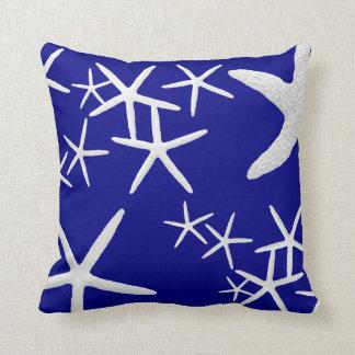 Navy Blue Starfish Pattern Decorative Throw Pillow