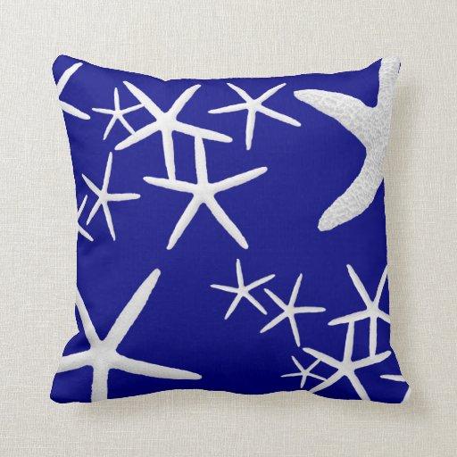 navy blue starfish pattern decorative throw pillow zazzle. Black Bedroom Furniture Sets. Home Design Ideas