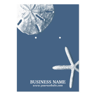 Navy Blue Starfish & Sand Dollar Earring Holder Large Business Cards (Pack Of 100)