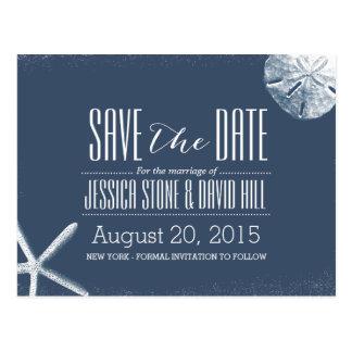 Navy Blue Starfish & Sand Dollar Save the Date Postcard