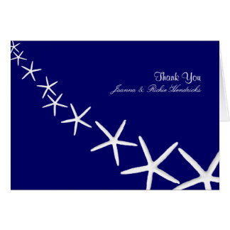 Navy Blue Starfish Wedding Thank You Notes Stationery Note Card