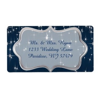 Navy Blue Starry Night Label