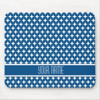 Navy Blue Stars Diamonds Monogram Pattern Mouse Pad
