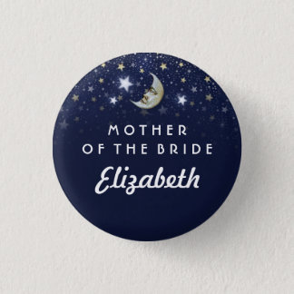Navy Blue Stars & Moon Mother of Bride Pinback Button