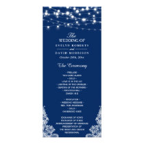 Navy Blue String Lights Lace Wedding Program
