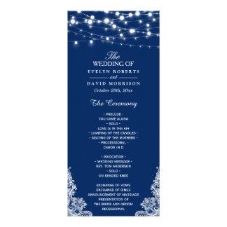 Navy Blue String Lights Lace Wedding Program