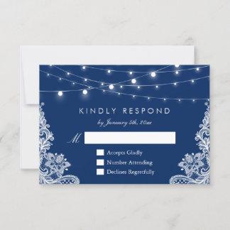 Navy Blue String Lights Lace Wedding RSVP Reply