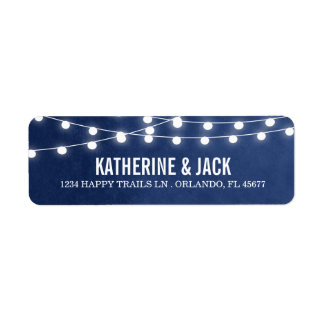 Navy Blue String Lights Wedding Address Labels