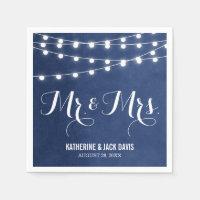 Navy Blue String Lights Wedding Monogram Napkin
