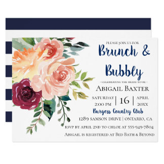 Navy Blue Stripe Floral Bridal Brunch Invitation