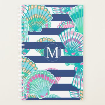 Professional Business Navy Blue Stripe Seashell Monogram Planner
