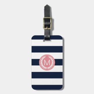 Navy Blue Stripe with Pink Laurel Wreath Monogram Bag Tag