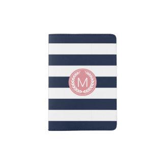 Navy Blue Stripe with Pink Laurel Wreath Monogram Passport Holder