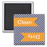 Navy Blue Striped Clean - Dirty Dishwasher Magnets