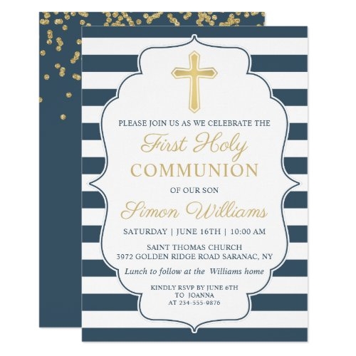 Navy Blue Striped Gold Cross First Holy Communion Invitation