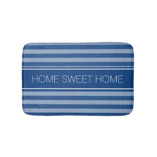 Navy blue striped non slip bath mat for bathroom