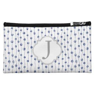 Navy Blue Striped Squiggles Monogrammed Makeup Bag