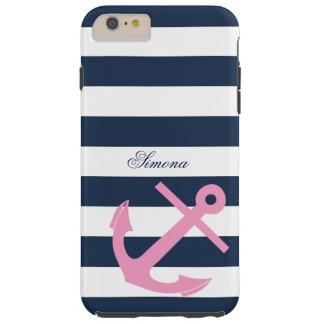 Navy Blue Stripes Anchor Custom Monogram Tough iPhone 6 Plus Case