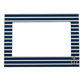 Navy Blue Stripes Anchor Magnetic Photo Frame