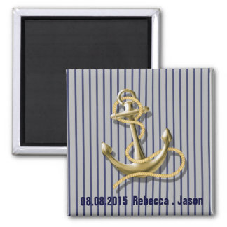navy blue stripes anchor nautical save the date magnet