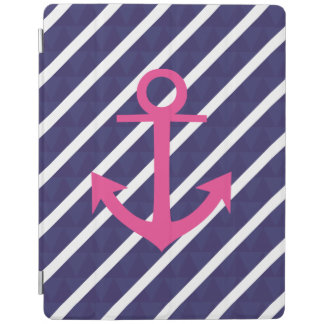 Navy Blue Stripes And Hot Pink Anchor Design iPad Cover