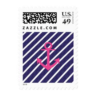 Navy Blue Stripes And Hot Pink Anchor Design Postage Stamp