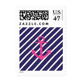 Navy Blue Stripes And Hot Pink Anchor Design Postage Stamp