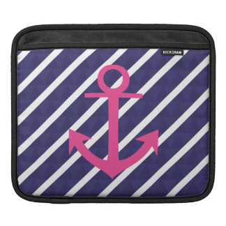 Navy Blue Stripes And Hot Pink Anchor Design Sleeves For iPads