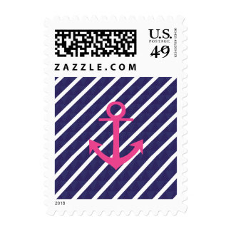 Navy Blue Stripes And Hot Pink Anchor Design Stamps