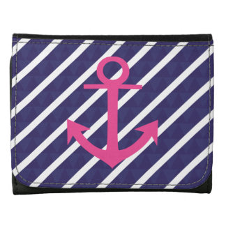 Navy Blue Stripes And Hot Pink Anchor Design Wallets