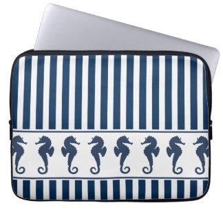 Navy Blue Stripes and Sea Horses Computer Sleeve