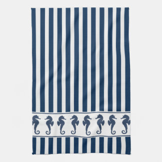 Navy Blue Stripes And Sea Horses Kitchen Towel