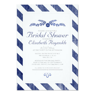 Navy Blue Stripes Bridal Shower Invitations Personalized Announcement