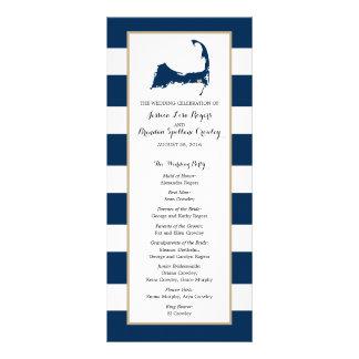 Navy Blue Stripes Cape Cod Map | Ceremony Program