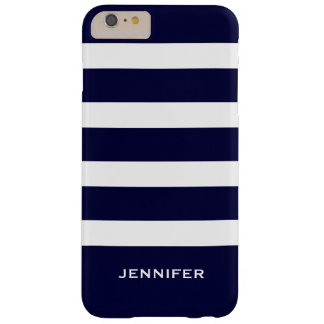 Navy Blue Stripes Changeable White Background Barely There iPhone 6 Plus Case