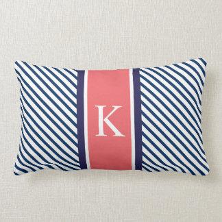 Navy Blue Stripes & Coral Monogram Lumbar Pillow