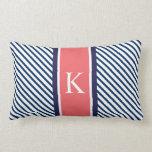 Navy Blue Stripes & Coral Monogram Pillow