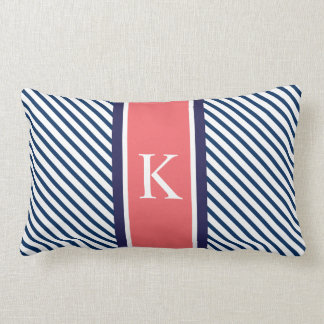 Navy Blue Stripes Coral Monogram Pillow