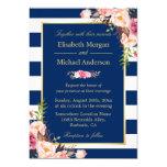 Navy Blue Stripes Floral   Classy Formal Wedding Card