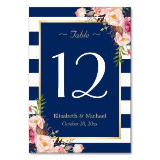 Navy Blue Stripes Floral Wedding Table Number Card