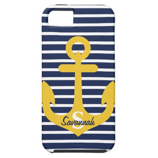 Navy Blue Stripes Gold Anchor Monogram Name iPhone 5 Case