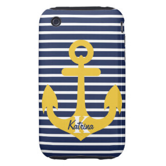 Navy Blue Stripes Gold Anchor Monogram Name Tough iPhone 3 Covers