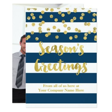Professional Business Navy Blue Stripes Gold Confetti Christmas Business Card